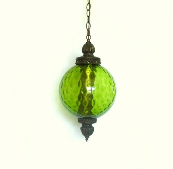 1970s pendant lamp green globe swag lighting chain chord