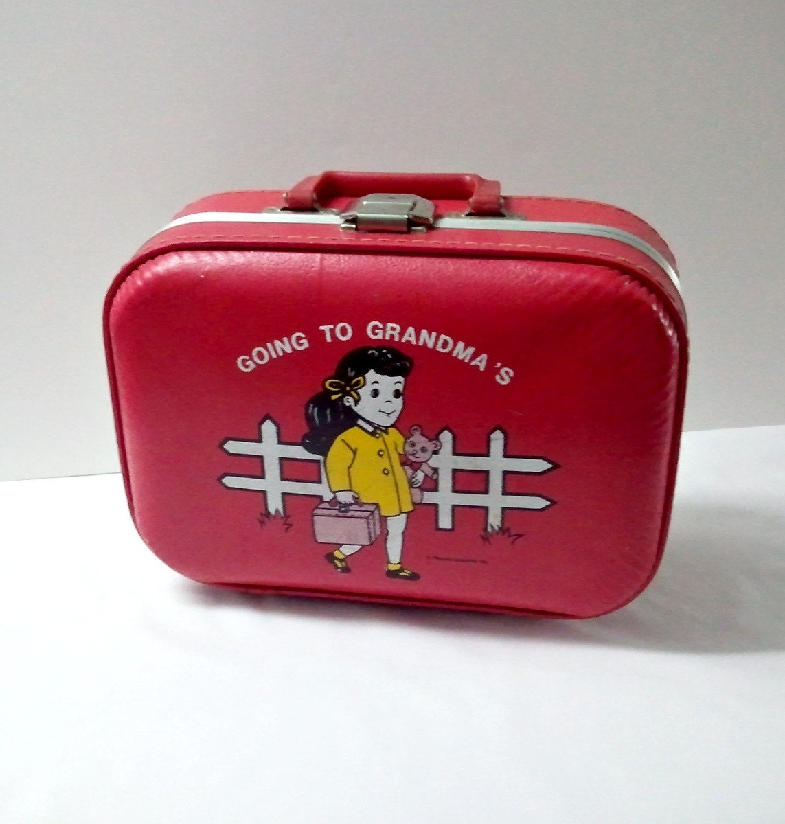 Vintage Girl S Suitcase Red Going To Grandma S By