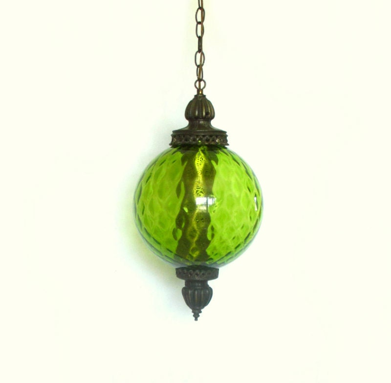 1970s Pendant Lamp Green Globe Swag Lighting Chain & Chord