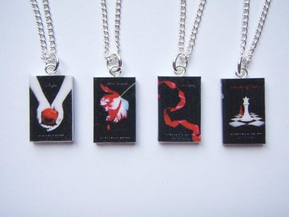 Twilight Saga Inspired Miniature Book Pendant Necklaces - Whole set of 4