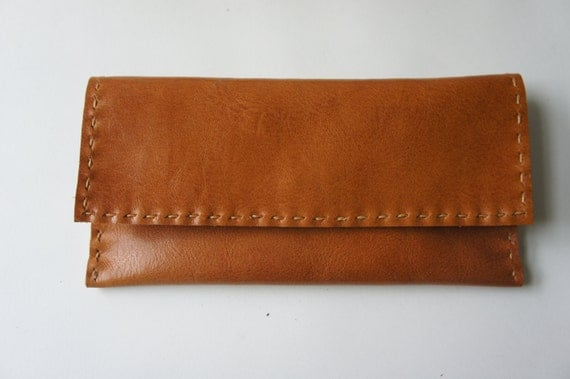 Leather Wallet - Small Clutch in Cognac - made to order