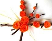 Autumn Wreath: Unique Fall Decor, Halloween Decor, Orange, Brown, Black, Tangerine, Autumn Colors, Eco friendly and Rustic