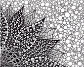 Abstract Ink Drawing, Zentangle Inspired Art Flower, Black and White, 8 x 10, Printable Art
