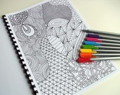 Coloring Book, Zentangle Inspired Printable, 12 Intricate Coloring Patterns, Zendoodles to Color