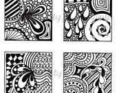 Digital Collage Sheet, Black and White Images, Abstract Zentangle Inspired Art, PDF for Scrapbooking, Jewelry Making, Pendants, Sheet 4