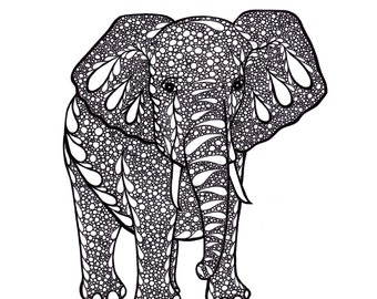 Elephant Art, Zentangle Inspired Art Print, PDF Printable Art, Ink Drawing, Black and White