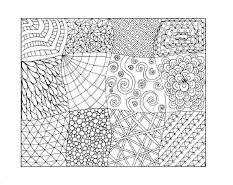 Zendoodle Coloring Page, Printable PDF, Zentangle Inspired- Page 11