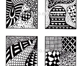 Black and White Images, Digital Collage Sheet Instant Download, Abstract Zentangle Inspired Art, PDF for Scrapbooking, Sheet 2