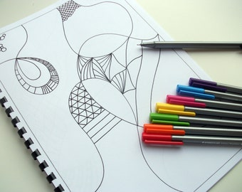 Printable Coloring Book, Kids Activity Book Zentangle Inspired, Zendoodle Art, Doodles to finish and color yourself