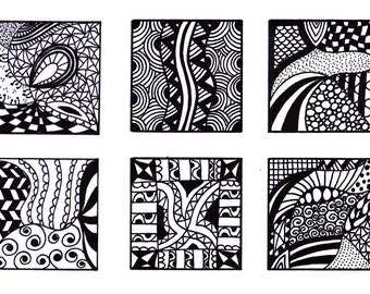 Digital Collage Sheet, 1 Inch Squares, Black and White Images, Zentangle Inspired Art PDF, Jewelry Making, Sheet 3- Instant Download