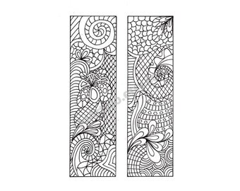 DIY Bookmarks, Zentangle Inspired Bookmarks to Print and Color, Zendoodle Printable Coloring Page, Digital Download, Sheet 6