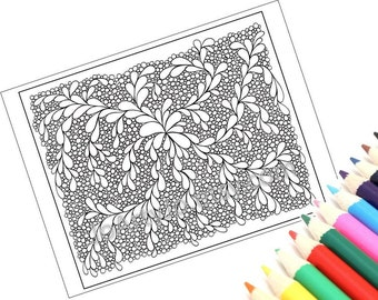 Printable Zentangle Inspired Coloring Page, Zendoodle Pattern, Page 13