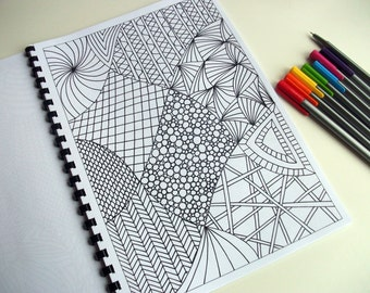 Printable Coloring Page, Zentangle Inspired, Abstract Art Coloring Pattern, Page 22