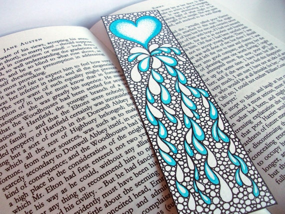 Items Similar To Original Art Bookmark Heart Illustration