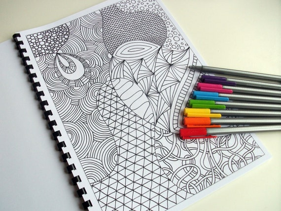 pdf coloring book zentangle inspired printable instant download 12 coloring pages zendoodles to color - Zentangle Coloring Book