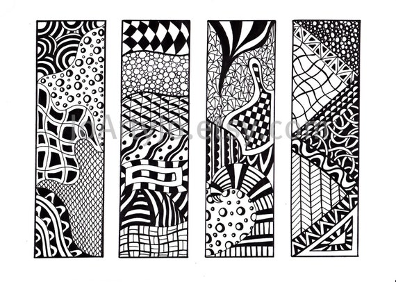 Printable Bookmarks, Zendoodle Bookmarks, Black and White, Zentangle Inspired