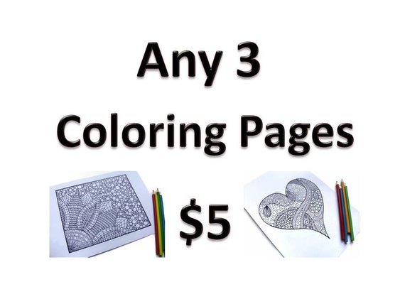 Reserved for Treasury Giveaway: Any 3 Printable Coloring Pages