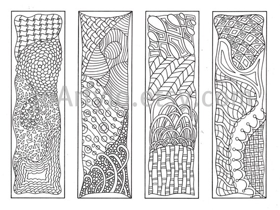 Zentangle Art With Color Bookmarks to Color Zentangle