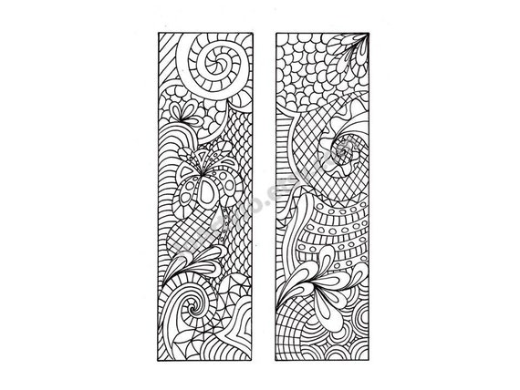 Printable Bookmarks Zentangle Inspired DIY Zendoodle To Print And Color Coloring Page Digital Download Sheet 6