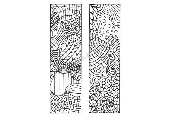 Printable Bookmarks Zentangle Inspired Coloring Page Diy