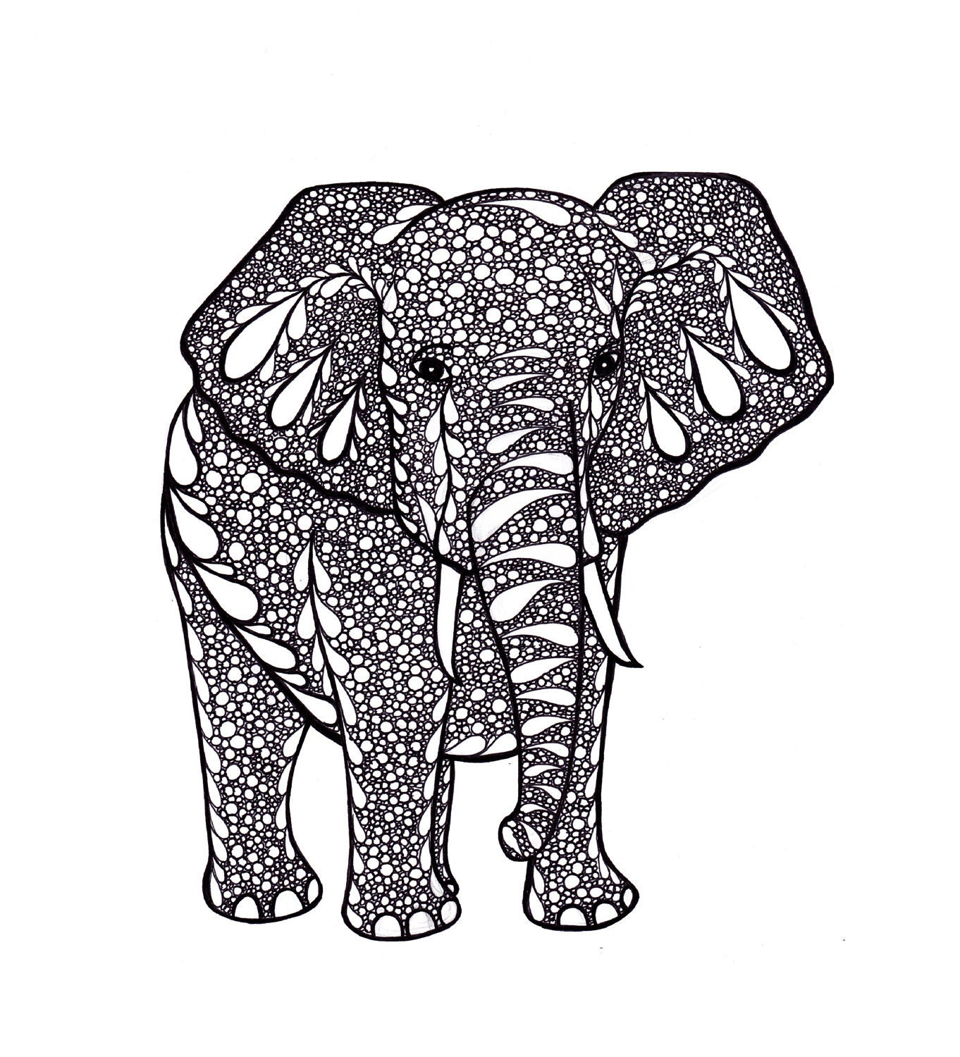 Elephant art zentangle inspired art print pdf printable art for Art decoration pdf