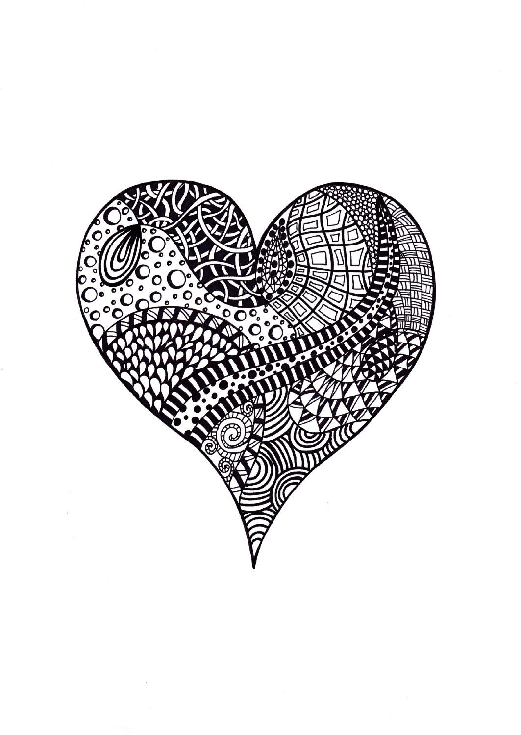 Abstract heart print valentine 39 s day zentangle inspired for Abstract heart coloring pages