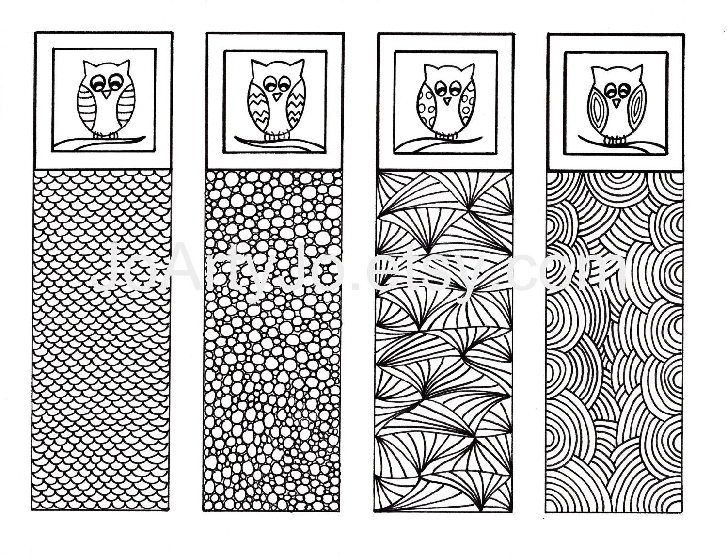 Printable Coloring Bookmarks Free : Printable bookmarks owl zendoodle art zentangle inspired