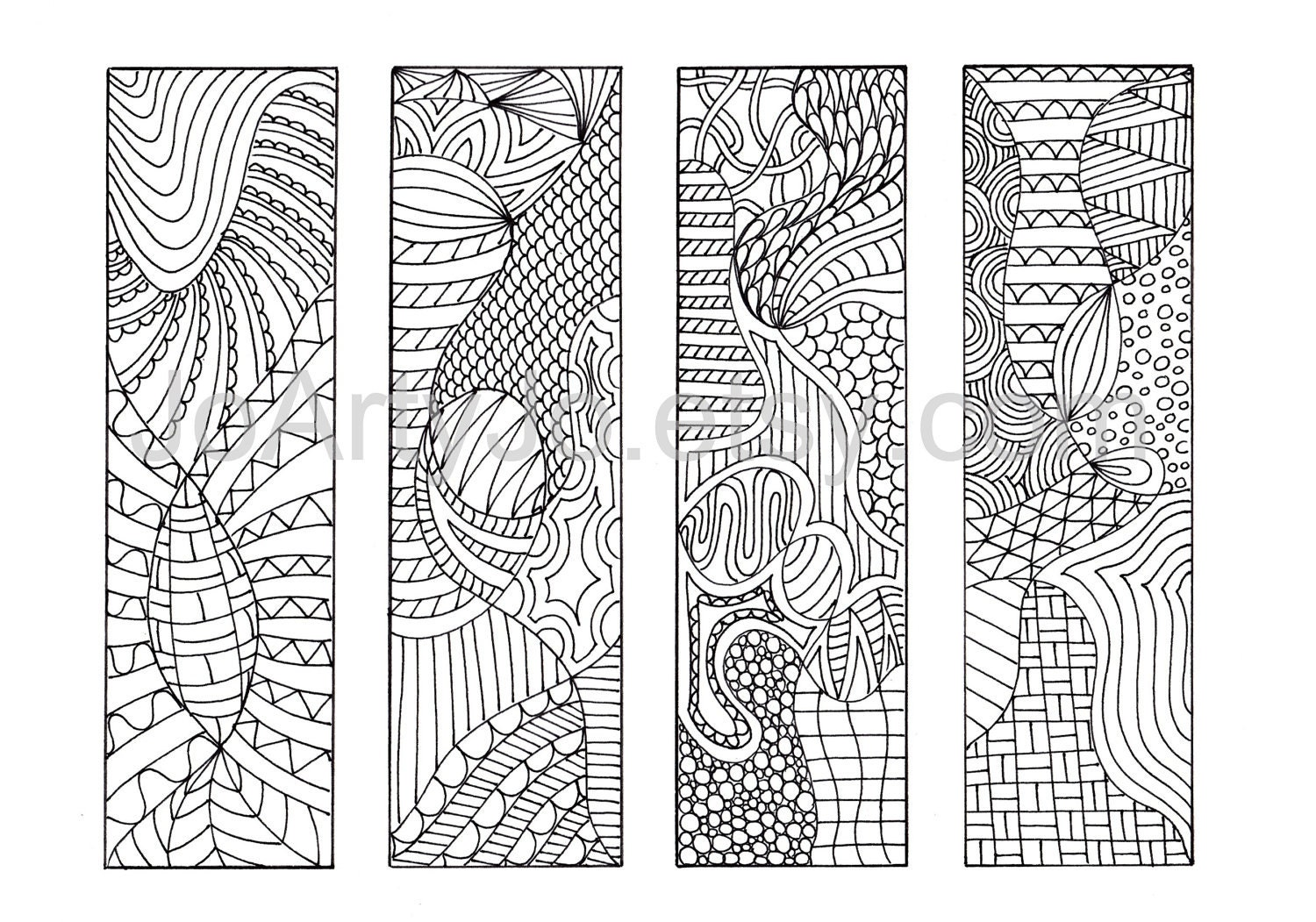 Printable Coloring Bookmarks Free : Zendoodle pdf bookmarks to print zentangle inspired