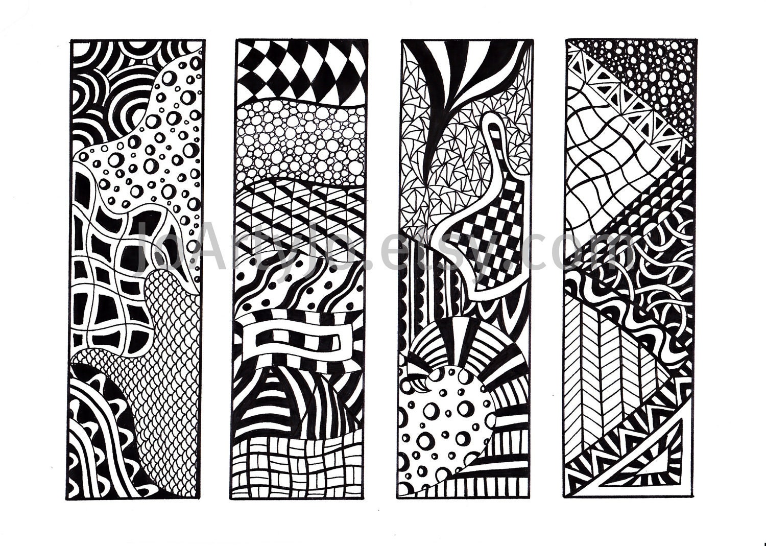 printable bookmarks zendoodle bookmarks black and white