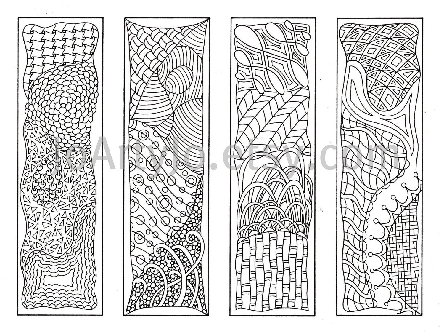 valentine bookmarks to color : Bookmarks To Color Zentangle Inspired Zendoodle Art Printable Coloring Digital Download Sheet 5