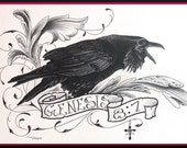 Prints(picture,bird,crow,raven,rooster,eagle,scripture,bible verse,cross, filigree,tattoo,christian,religious,church,gift,fair,art)