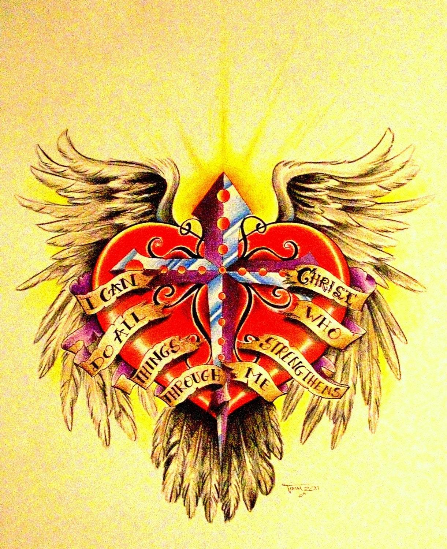 Cool Hearts With Angel Wings Heart cross angel wings