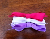 Basic Bows Trio white,pink,purple Or you pick colors