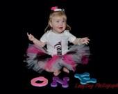 Party Animal Zebra Print & Hot Pink Birthday Tutu Set 1-5