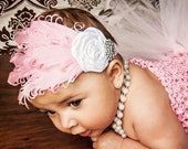 Stunning Nagorie Goose Feather Headband Newborn Baby Girl rosettes & crystals Valentines Day