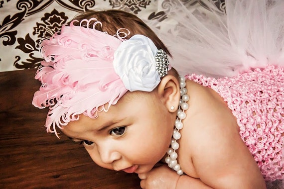 Stunning Nagorie Goose Feather Headband Newborn Baby Girl rosettes & crystals Valentines Day baby feather headband