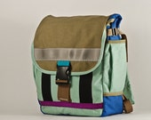 Small Backpack -- mint and tan -- made to order.
