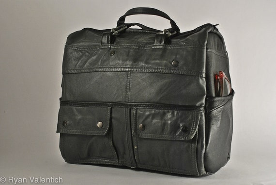 Steel leather handbag with matte industrial hardware. One of a kind. Ready to ship.