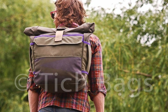 S A L E // Large Roll-Top Backpack -- clay and purple -- LIMITED EDITION -- Ready to ship.