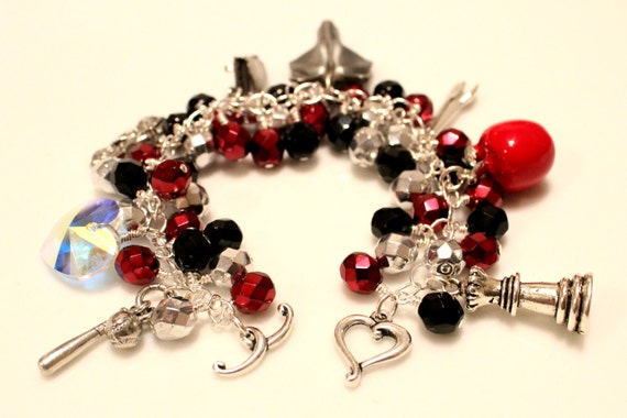 Twilight inspired charm bracelet with Czech glass SALE (FREE SHIPPING)