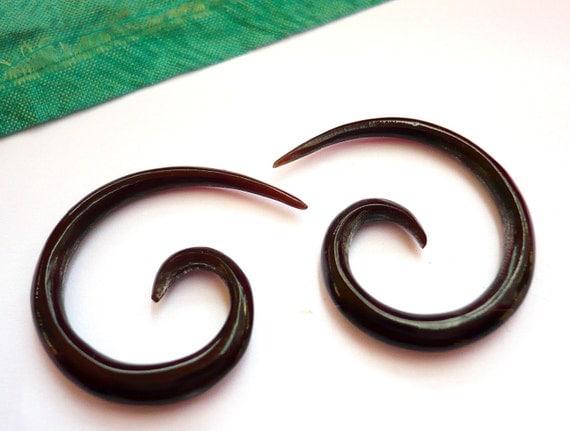 Buffalo Black Horn Spiral Tribal Expanders Earrings - Gauges Plugs Horn - GA004 H