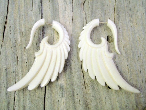 Fake Gauges Earrings Bone Earrings Wings White Angel Tribal Earrings - Gauges -FG002 B G1