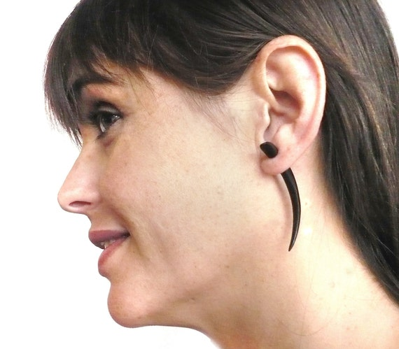 Fake Gauge Earrings Wooden Earrings Talon Tribal Black Dark Wood Organic - FG033 DW G1
