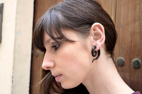 Fake Gauge Earrings Wood Tribal Spiral Earrings - FG014 DW G1
