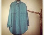1980s Diane von Furstenberg Teal Button-down Shirt Dress