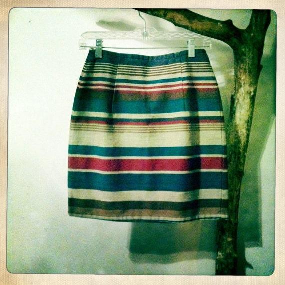 Aztec Striped Denim Pencil Mini-Skirt
