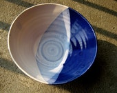 Large Blue and White Salad Bowl