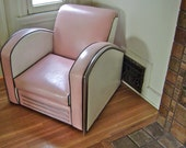 Reserved For Novawagon1964 Vintage Jazz Art Deco Club Chair American Streamline Art Deco Style Club Chair  Pink White Black and Chrome