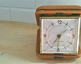 Vintage Westclox Travel Alarm Germany 1950's Leather Case