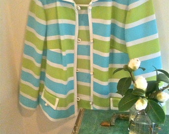 Vintage Mid 1960s Jacket Teal Lime and White